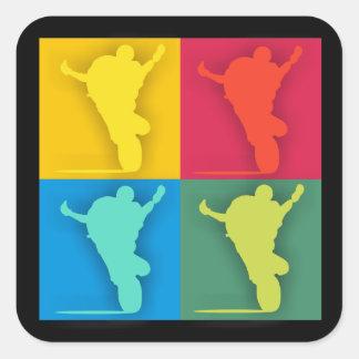 Multi-colored wheelie square sticker