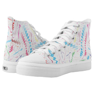 Multi Colored Zigzag White Background Printed Shoes