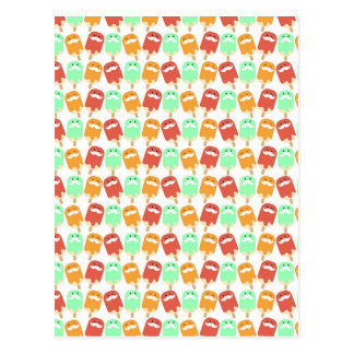 Multi -colorful Ice Cream with Mustaches Postcard