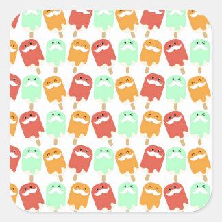 Multi -colorful Ice Cream with Mustaches Square Sticker