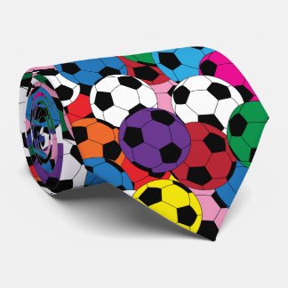 Multi Colors, White and Black Soccer Ball Collage Tie