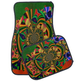 Multi-Colour Abstract Decorative Set of 4 Car Mats Floor Mat