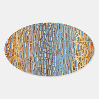Multi Colour Background Oval Sticker