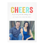 Multi Colour Cheers Christmas Photo Flat Cards