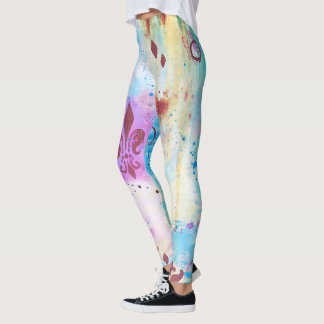 Multi Colour Colourful Abstract Art Fleur De Lis Leggings