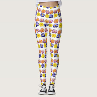 Multi-colour Daisy flower leggings