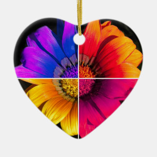 Multi-Colour Flower on Black Ceramic Heart Decoration