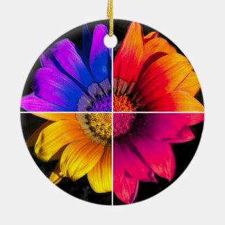 Multi-Colour Flower on Black Round Ceramic Decoration