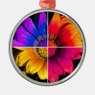 Multi-Colour Flower on Black Silver-Colored Round Decoration