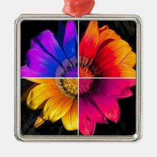 Multi-Colour Flower on Black Silver-Colored Square Decoration