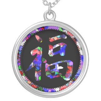 Multi colour good luck kanji glamour necklace