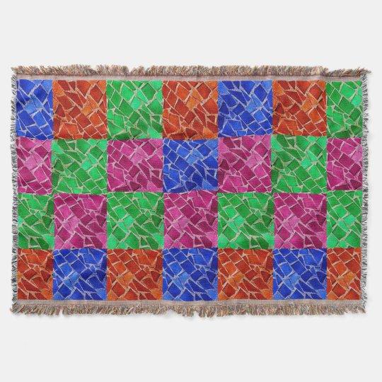 Multi Colour Mosaic Cracked Tile Throw Blanket