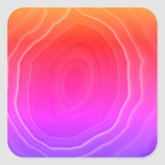Multi colour pink blue orange agate slice original square sticker