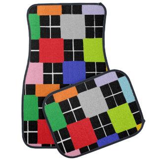 Multi-Colour Squares Design Set of 4 Car Mats