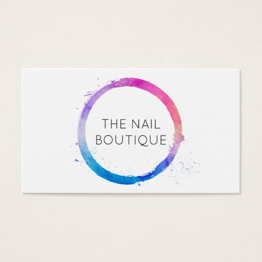 Multi-Colour Watercolor Painted Circle Logo Business Card