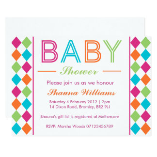 Multi-Coloured Argyle Baby Shower Invitation