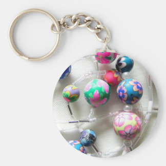 multi coloured beaded necklace basic round button key ring