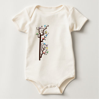 Multi Coloured Birds in Tree Baby Bodysuit