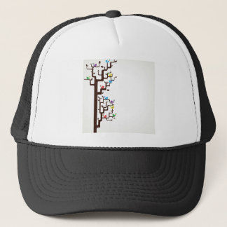 Multi Coloured Birds in Tree Trucker Hat
