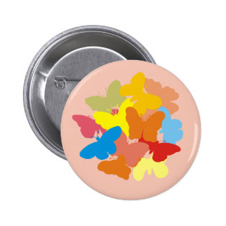 Multi Coloured Butterflies 6 Cm Round Badge