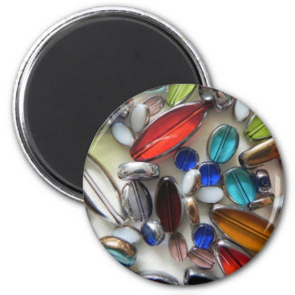 multi coloured crystal beads 6 cm round magnet