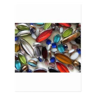 multi coloured crystal beads postcard