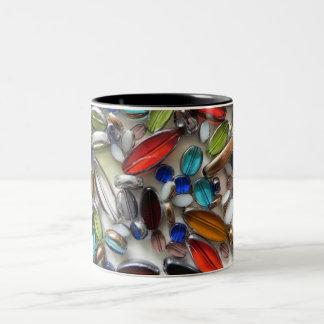multi coloured crystal beads Two-Tone coffee mug