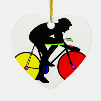 Multi coloured cycling bike ceramic heart decoration
