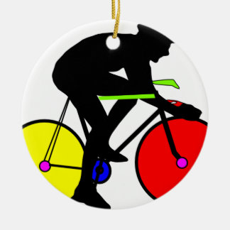 Multi coloured cycling bike round ceramic decoration