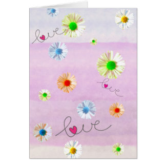 Multi coloured daisies and love card