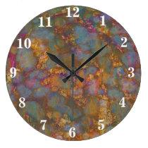 Multi-coloured distressed grunge design large clock