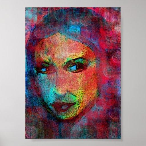 multi coloured face poster