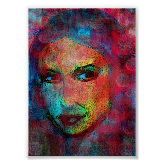 multi coloured face poster
