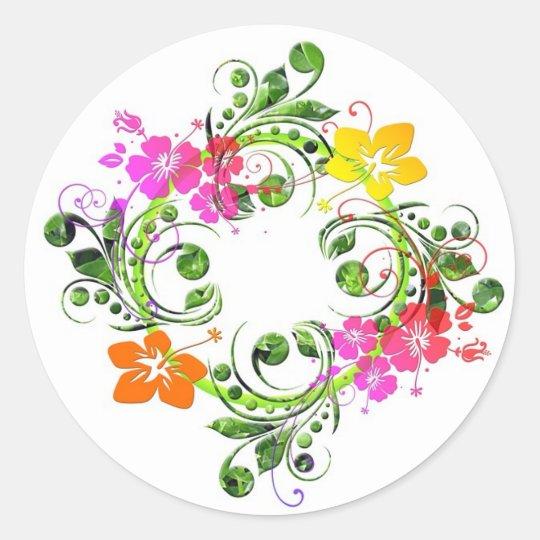 Multi coloured floral design classic round sticker