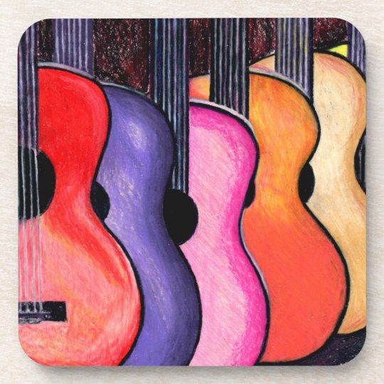 Multi Coloured Guitars Coasters