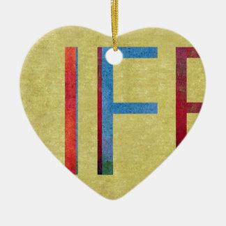 Multi-Coloured Life Vintage Style Motivation Ceramic Heart Decoration
