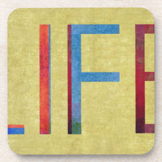 Multi-Coloured Life Vintage Style Motivation Coasters