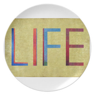 Multi-Coloured Life Vintage Style Motivation Party Plate
