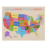 Multi-Coloured Map Of the United States Poster