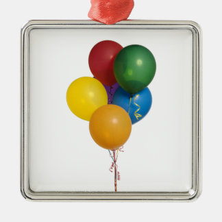 Multi Coloured Party Balloons Square Metal Christmas Ornament