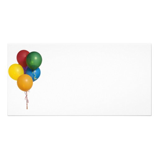 Multi Coloured Party Balloons Photo Card