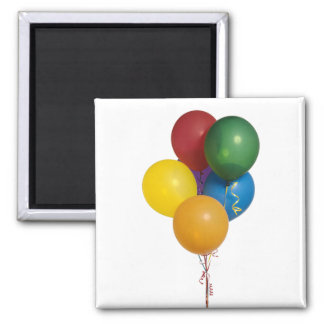Multi Coloured Party Balloons Square Magnet