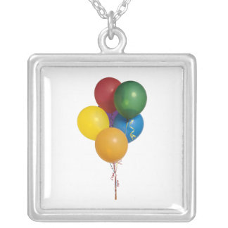 Multi Coloured Party Balloons Square Pendant Necklace