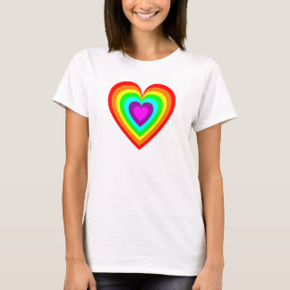 Multi Coloured Rainbow Love Heart T-Shirt