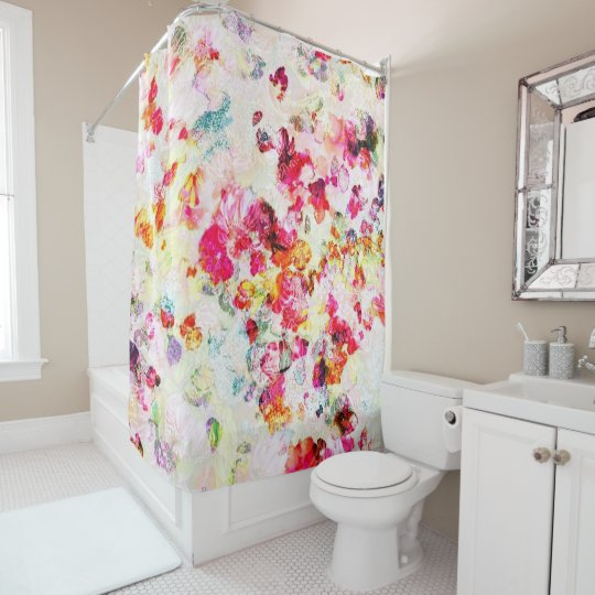 Multi-coloured shower curtain