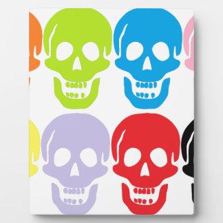 multi coloured skulls plaque