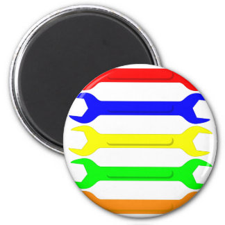 Multi-Coloured Spanners 6 Cm Round Magnet