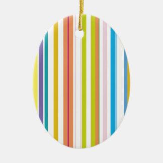 Multi Coloured Stripes Ceramic Oval Decoration