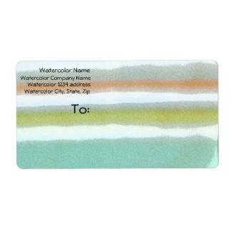 Multi-coloured stripes, film grain, watercolor shipping label