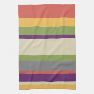 Multi-coloured stripes Four Tea Towel